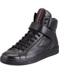 Prada Avenue Leather Hightop Sneaker - Lyst