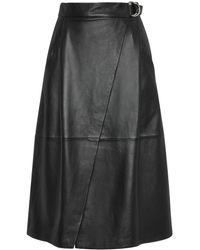 Whistles Wrap Leather Midi Skirt - Lyst