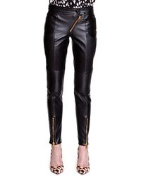 Fausto Puglisi - Diagonalzip Leather Motorcycle Pants - Lyst