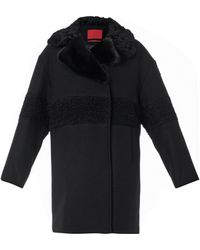 Moncler Gamme Rouge Shearling And Fur-Collar Wool Coat - Lyst