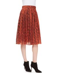 Risto - Leaf-Print Plisse Skirt - Lyst