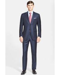 Canali Classic Fit Stripe Wool Suit blue - Lyst