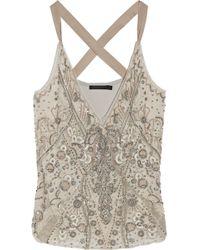 Donna Karan New York Embellished Silk-Organza And Jersey Top - Lyst