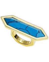 CC SKYE - Gold-Plated & Turquoise-Tone Ring Size 6 - Lyst