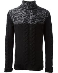 Diesel Black Gold Cable Knit Turtleneck Sweater - Lyst