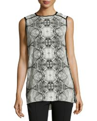 J Brand Printed Contrasttrim Jersey Tunic - Lyst