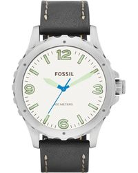Fossil Mens Nate Black Leather Strap Watch 45mm - Lyst