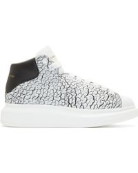 Alexander McQueen White And Silver Leather High_Top Sneakers white - Lyst