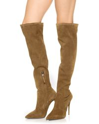 Giuseppe Zanotti Over The Knee Suede Boots Velour Liquirizia - Lyst