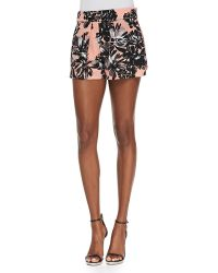 Rebecca Taylor Splashy Floral-Print Silk Shorts - Lyst
