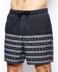 Asos Swim Short in Mid Length with Us Flag - Lyst