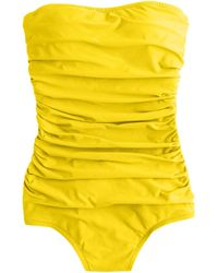 J.Crew Ruched Bandeau One-Piece Swimsuit - Lyst