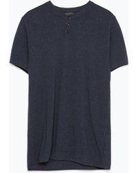 Zara Button-Neck Polo Shirt blue - Lyst