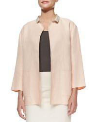 Lafayette 148 New York Marice Linen Topper Jacket W/ Silk Collar - Lyst