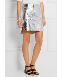 McQ by Alexander McQueen Metallic Crinkled-Leather Mini Skirt - Lyst