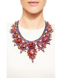 Carole Tanenbaum - Thorin Contemporary Statement Necklace With Fuchsia, Pink-Orange And Aurora Borealis Rhinestones Set In Japanned Metal - Lyst