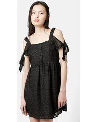 Topshop Cold Shoulder Burnout Dress black - Lyst