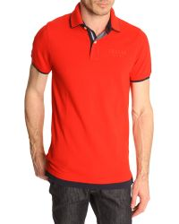 Tommy Hilfiger Polo Shirt With 2In1 Red And Navy Double Collar - Lyst