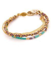 Sogoli | Chain & Beaded Wrap Bracelet - Gold/lavender | Lyst