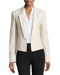 Halston Heritage Linen-blend Open-front Jacket - Lyst