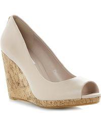 Dune Celia Cork-wedge Court Shoes - Lyst