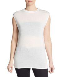 Helmut Lang Cap Sleeve Jersey-knit Top - Lyst