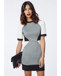 Missguided Jessamy Scuba Contrast Bodycon Dress Grey Marl - Lyst