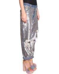 Ashish - Cotton Jeans With All-Over Sequin Embroidery - Lyst
