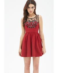 Forever 21 Sequin Embroidered Lace Dress - Lyst