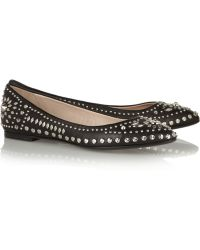 Versace Studded Leather Ballet Flats - Lyst