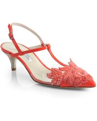 Oscar de la Renta Azra Transluscent & Beaded-AppliquÉ Leather Pumps - Lyst