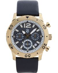 Izod - Watch Unisex Chronograph Black Leather Strap 42mm Izs67yellowgold - Lyst