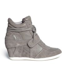 Ash 'Bowie' Suede And Calf Leather Wedge Sneakers - Lyst