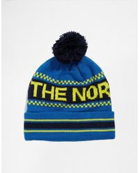 The North Face Antlers Bobble Beanie Hat - Lyst