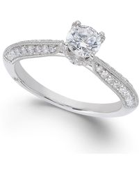 Marchesa Classic By Certified Diamond Engagement Ring In 18K White Gold (1/2 Ct. T.W.) - Lyst