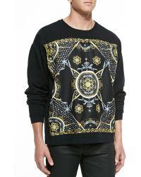 Versace Silk Paneled Sweatshirt - Lyst