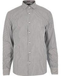 River Island Grey Stripe Long Sleeve Shirt - Lyst