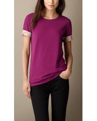 Burberry Check Cuff Stretch Cotton T-Shirt - Lyst