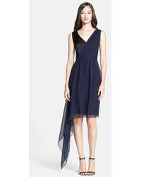 St. John Side Drape Liquid Satin & Silk Georgette Dress - Lyst