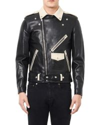 Saint Laurent Bicolour Leather Biker Jacket - Lyst