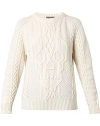 Alexander McQueen Skull Cable-Knit Sweater - Lyst