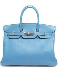 Hermès Pre-Owned Blue Jean Taurillon Clemence 35 Birkin Bag - Lyst
