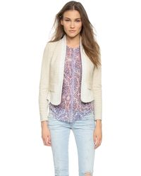 Rebecca Taylor Grid Tweed Jacket - Light Grey/Chalk - Lyst
