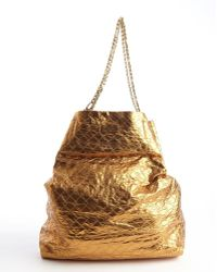 Lanvin Copper Crinkle Leather Chain Strap Tote - Lyst