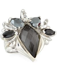 Stephen Webster Polished Silver Pop Superstud Cocktail Ring W/ Gray Doublet & Mixed Stones - Lyst