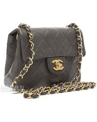 Chanel Preowned Khaki Green Lambskin Mini Flap Bag - Lyst