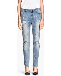 H&M Blue Girlfriend Jeans - Lyst