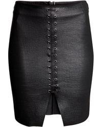 H&M Imitation Leather Skirt - Lyst