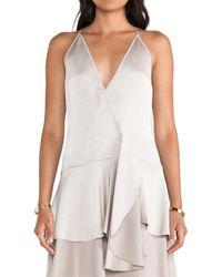 Halston Heritage Tiered Skirt Wrap Dress - Lyst