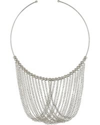 Topshop Draped Chain Collar Silver - Lyst